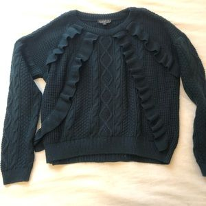 Topshop Ruffle-Front Crew Neck Sweater